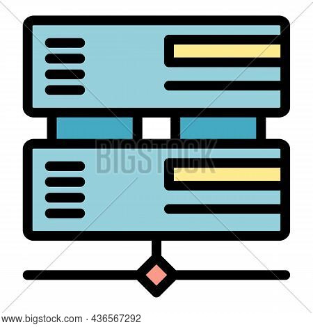 Office Server Icon. Outline Office Server Vector Icon Color Flat Isolated