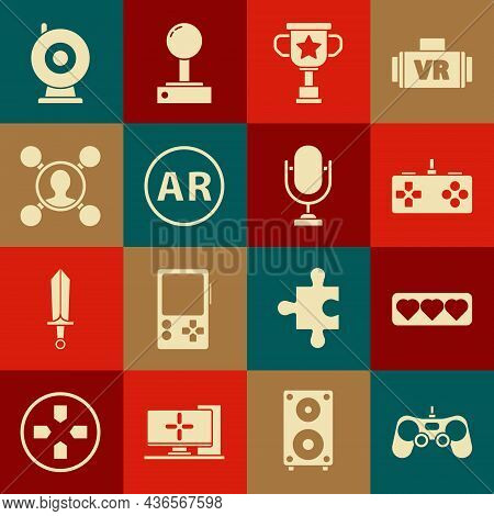 Set Gamepad, Like And Heart, Award Cup, Ar, Augmented Reality, Share, Web Camera And Microphone Icon