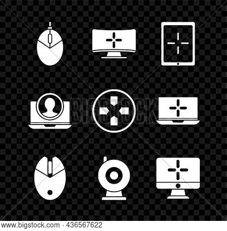 Set Computer Mouse Gaming, Monitor, Tablet, Web Camera, Create Account Screen And Gamepad Icon. Vect
