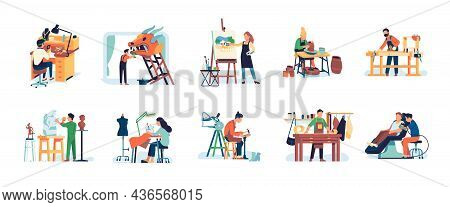 People Crafts. Men And Women Artisans. Creative Hobbies And Professions. Handicraft Workers. Sculpto
