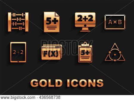 Set Function Mathematical Symbol, Chalkboard, Triangle, Test Or Exam Sheet, Tablet With Calculator,