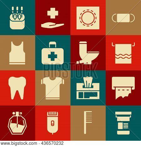 Set Medicine Bottle, Paper Towel Dispenser On Wall, Towel Hanger, Condom Package Safe Sex, First Aid