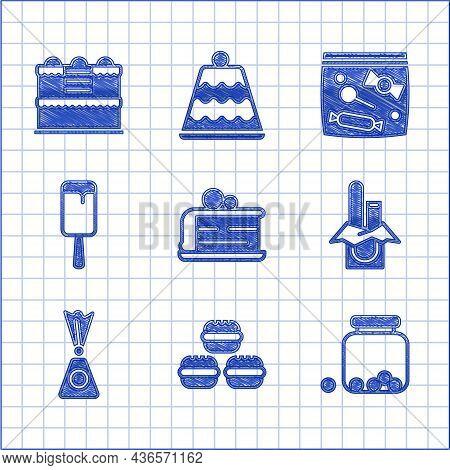 Set Piece Of Cake, Macaron Cookie, Glass Jar With Candies Inside, Chocolate Bar, Candy, Ice Cream, P