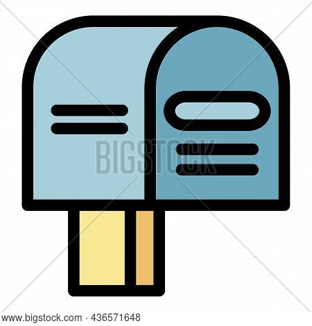 Apartment Mailbox Icon. Outline Apartment Mailbox Vector Icon Color Flat Isolated