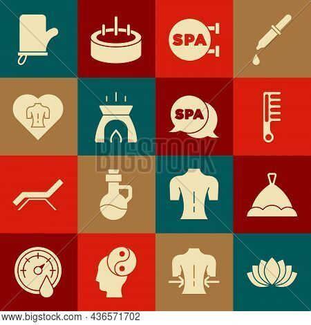 Set Lotus Flower, Sauna Hat, Hairbrush, Spa Salon, Aroma Candle, Massage, Mittens And Icon. Vector
