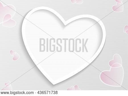 Background With Cutout Big Heart And With Striped Pattern With Transparent Hearts - Valentines Illus