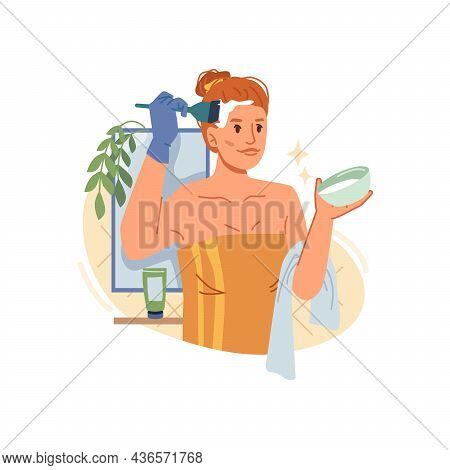 Woman Dyeing Hair Coloring Process At Home Isolated Flat Cartoon Girl In Towel. Vector Beauty Proced