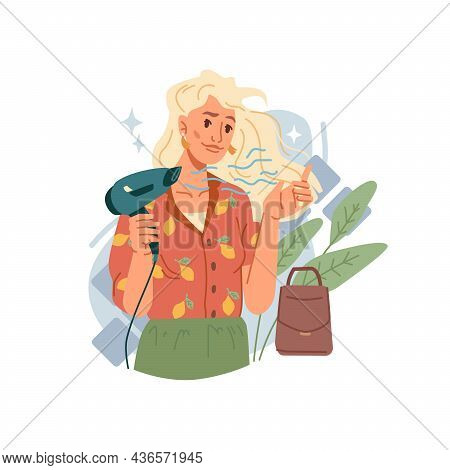 Blond Woman Dries Hair With Hairdryer Isolated Stylish Flat Cartoon Character. Vector Attractive Cau