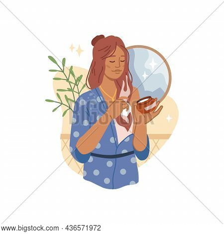 Woman Applies Haircare Product, Mask Or Essential Oil, Moisturizer Cream. Vector Open Package With H