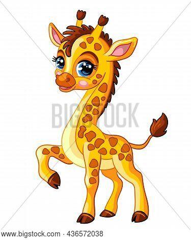 Cute Giraffe. Cartoon Giraffe Character. Vector Isolated Illustration. Funny Animal. For Greeting Ca