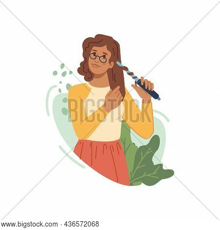 Woman Curling Straight Hair Isolated American Or Caucasian Girl Flat Cartoon Character. Vector Illus