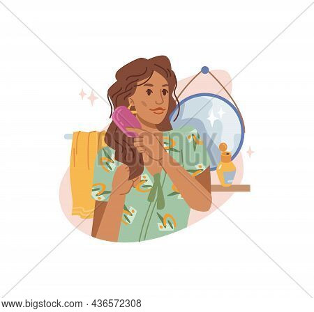 Young Brown-haired Woman Combing Her Long Curly Hair With Comb At Home, Mirror And Towel On Backgrou