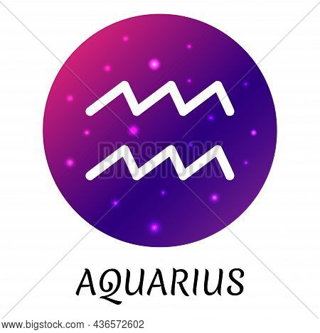 Zodiac Sign Aquarius Isolated. Vector Icon. Zodiac Symbol With Starry Gradient Design. Astrological