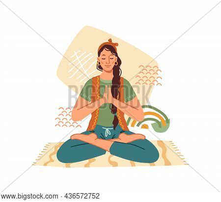 Woman Meditate In Yoga Lotus Pose Isolated Cartoon Character Meditating On Mat. Vector Concept Of Me