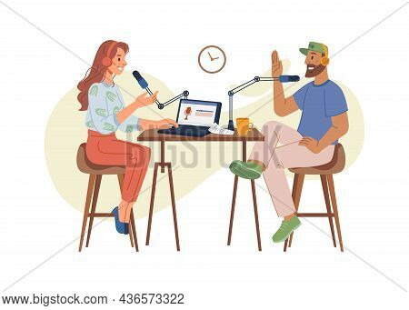 Podcast Concept, Woman Host Interviewing Guests On Radio Station. Podcast In Studio Flat Vector Illu
