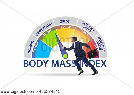 Concept of BMI - body mass index with man