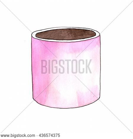 Garden Pot And Isolated On White Background. Round Pot. Flower Pot Color Pink. Watercolor Illustrati