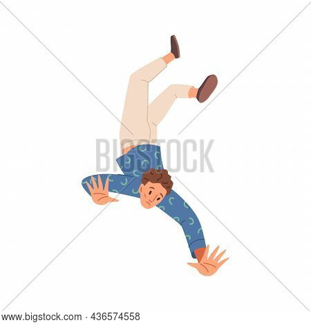 Man Falling Isolated Frightened Unhappy Person In Emotional Stress Fall, Hazard Or Accident, Flat Ca