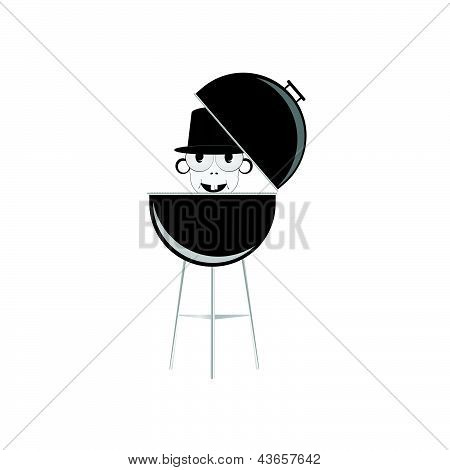 Barbecue With Humain Head Vector Illustration