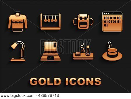 Set Laptop, Binary Code, Man Hat, Gamepad, Table Lamp, School Backpack, Sweater And Pendulum Icon. V