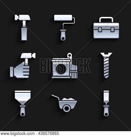 Set Paint Bucket And Brush, Wheelbarrow, Rasp Metal File, Metallic Screw, Putty Knife, Hammer, Toolb