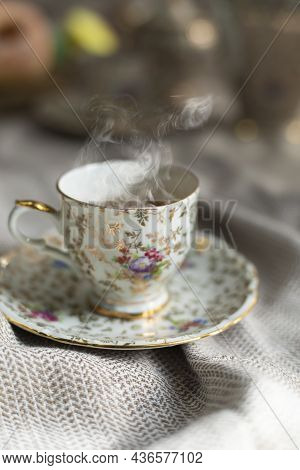Porcelain Tea Pot And Cup Of Hot Tea On The Table, Antique Traditional Crockery Set, High Tea Englis