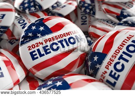 Closeup shot of one presidential election 2024 button in focus in between many other buttons in a box. Selective focus with shallow depth of field. 3D illustration.