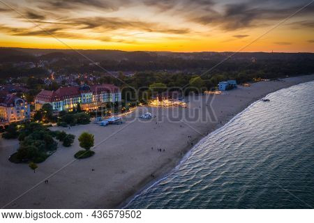 Beautiful architecture of Sopot city by the Baltic Sea at dusk, Poland.