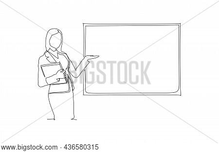 One Single Line Drawing Of Young Businesswoman Presenting New Golden Rules Of Company To The Workers