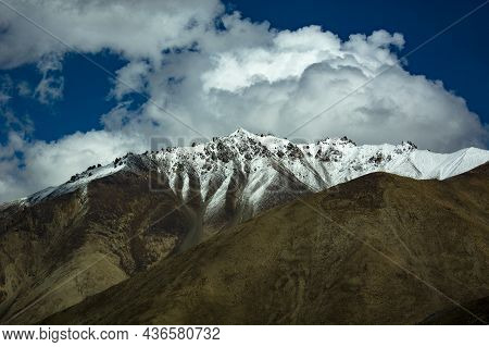 Snow-clad Peaks Of The Mighty Himalayas Photographed From Ldakh Region Of India, Asia.
