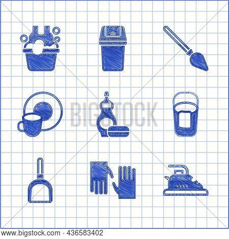 Set Dishwashing Liquid Bottle, Rubber Gloves, Electric Iron, Bucket With Rag, Dustpan, Washing Dishe