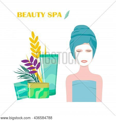 Spa Treatments. Vector Illustration. The Girl In The Beauty Salon With A Mask On Her Face. Flyer For