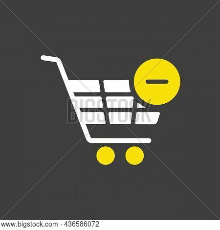 Shopping Cart Glyph Icon With Minus. Remove From Cart. E-commerce Sign. Graph Symbol For Your Web Si