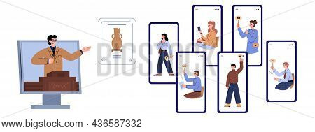 Online Auction Concept In Flat Vector Illustration Isolated On White Background