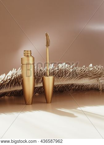 Advertising Photo Of Luxury Cosmetics For Women. Mascara And Feathers. Concept. Advertising Backgrou