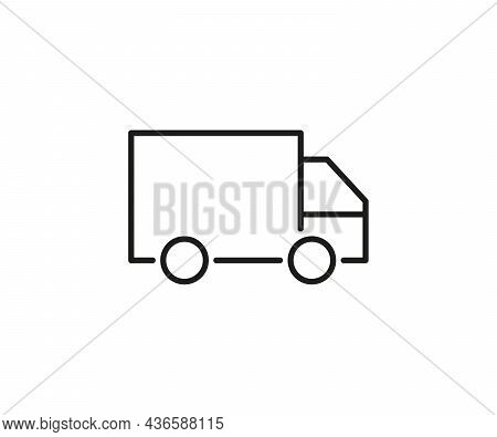Delivery Van Line Icon, Transportation To Send Order. Truck Logistic Service. Vector Sign