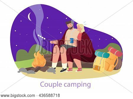 Evening By Campfire. Young Couple Roasts Souffle On Fire And Communicates. Happy Man And Woman Arran