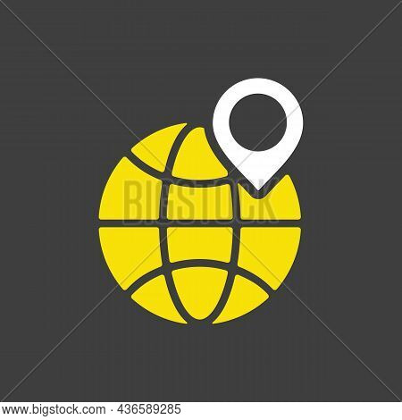 Earth Planet And Location Marker On It Vector Glyph Icon. International Delivery. E-commerce Sign. G