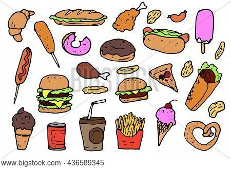 A Set Of Fast Food In Flat Style. Hand-drawn Food In Doodles, Hamburger, Hot Dog, Chicken Leg, Ice C