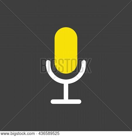 Record Microphone Mic Vector Glyph Icon. E-commerce Sign. Graph Symbol For Your Web Site Design, Log