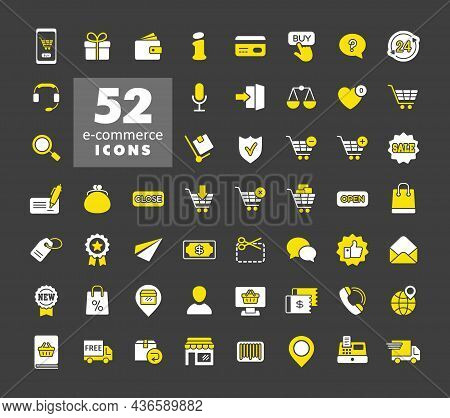E-commerce Set Vector Icons Shopping And Online. Graph Symbol For Your Web Site Design, Logo, App, U