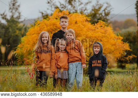Five Young Cute Kids In Orange And Black Autumn Hoodie Posing Against Yellow Tree On The Glade.
