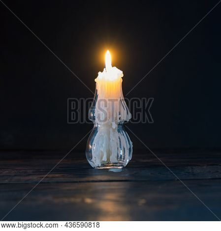 Burning Candle In  Glass Candlestick In Shape Of  Christmas Tree