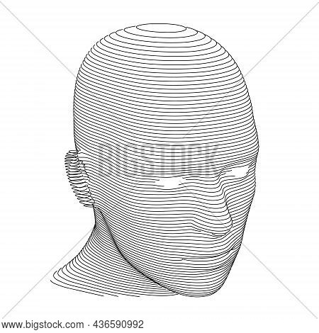 Human Head In Horizontal Lines Or Slices Over White Background. Three Quarters View