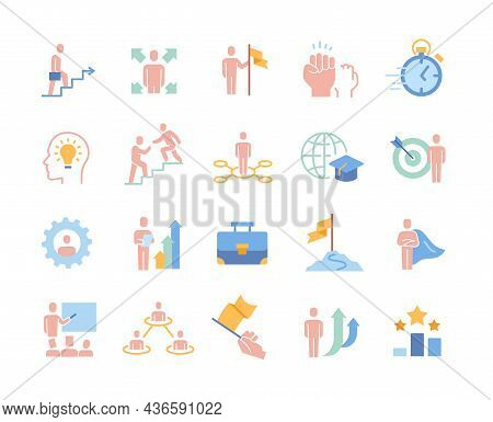 Colorful Business Icons. Collection Of Stickers With Entrepreneurs, Partners, Business Coaches, Comm