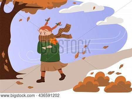 Autumn Strong Wind Storm. Girl In Jacket And Scarf Walks Down Windy Street. Fallen Yellow Leaves. Ch