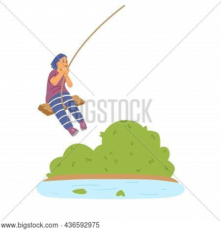 Child Swinging On Bungee Swing Over River, Flat Vector Illustration Isolated.