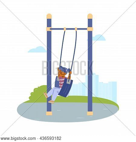 Child Swinging On Swing In Open Air Playground, Vector Illustration Isolated.