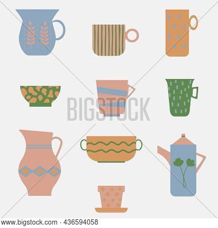 Set Of Modern Ceramic Kitchenware. Abstract Scandinavian Design. Artisan Pottery Collection. Minimal