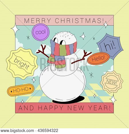 Snowman In Scarf Comic Character Illustration With Stickers Isolated On Green Background. Seasonal G